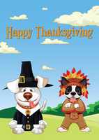 Thanksgiving Dogs dressed as Indian and Pilgrim