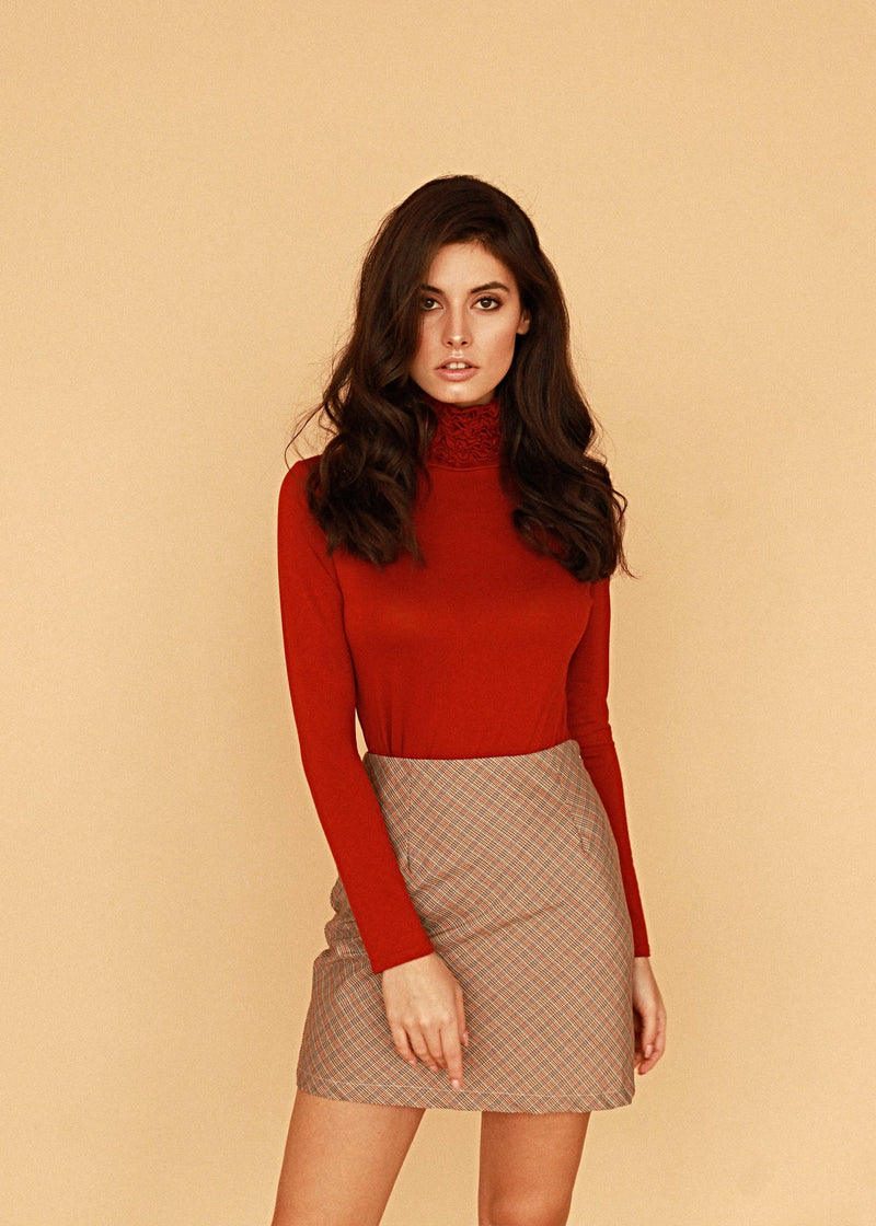 Nancy Red Turtle Neck