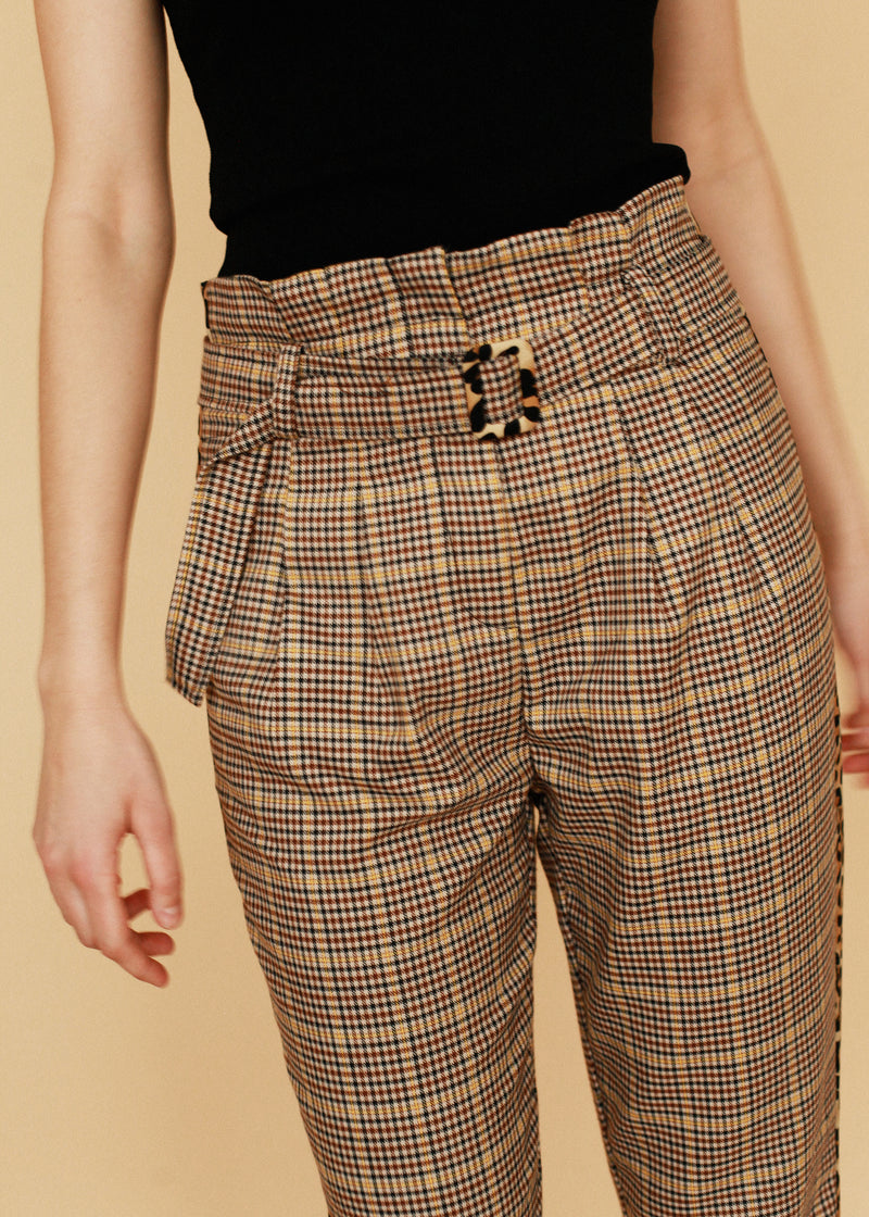 Boston Beige Plaid Trouser with Leopard Detail