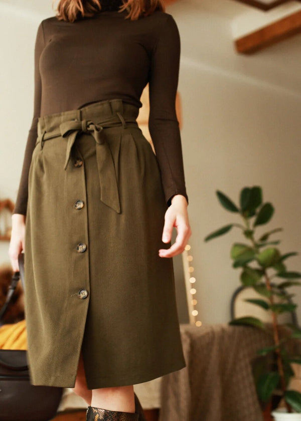 Trouble Maker Khaki Midi Skirt