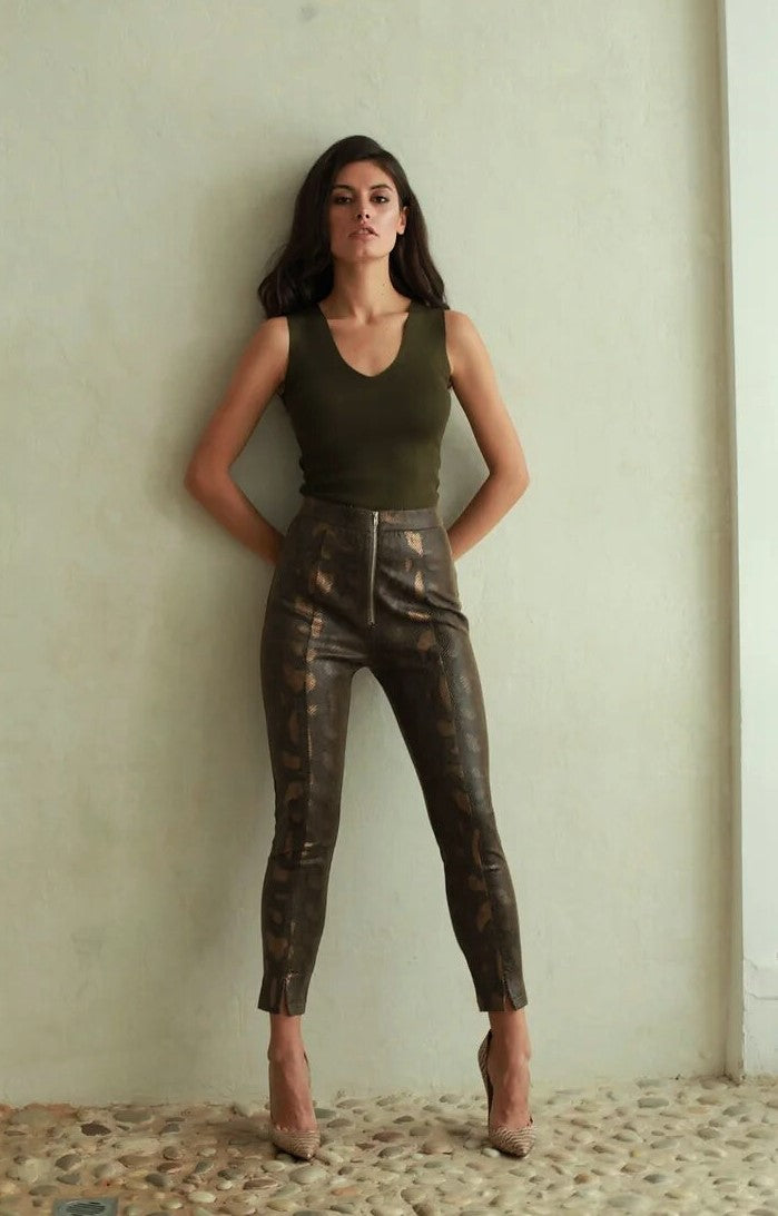 Charlie Snake Vegan Leather Trousers