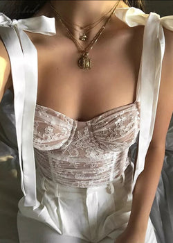 Gisele Corset Top in Cream Lace