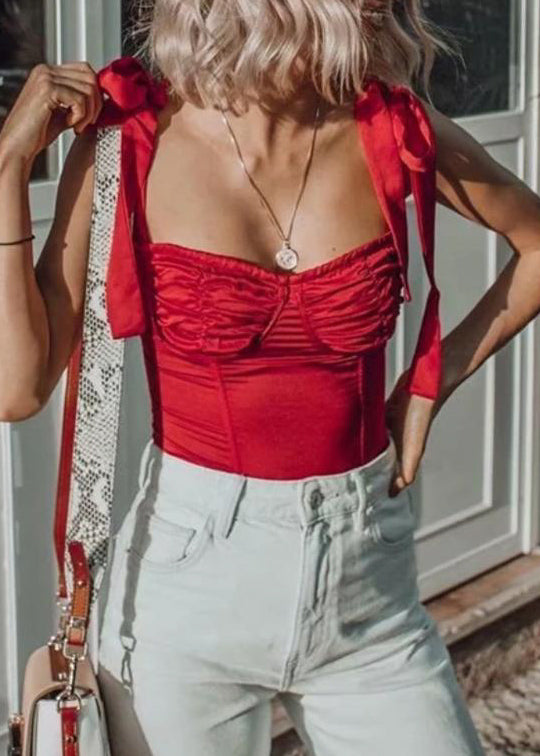Gisele Corset Top in Red Satin