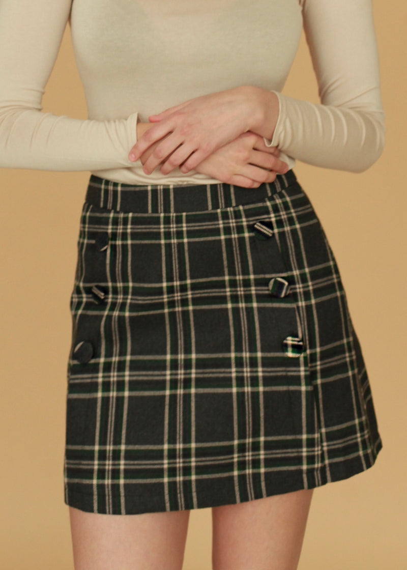 Denny Wool Blend Checked Skirt