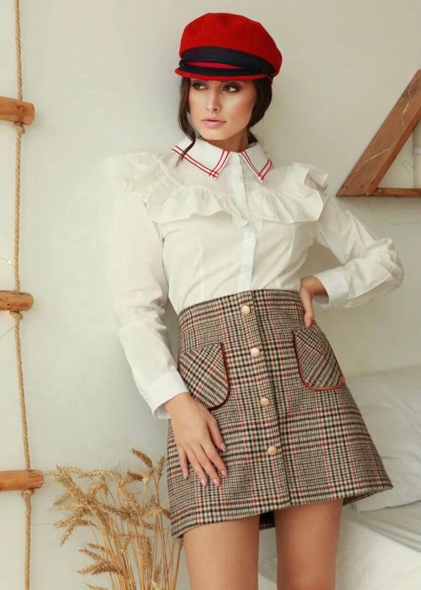 Nina Buttoned Checked Mini-Skirt