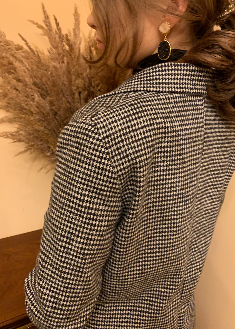 Grey Double-breasted Plaid Blazer
