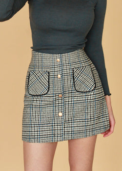 Nina Buttoned Checked Mini Skirt Grey