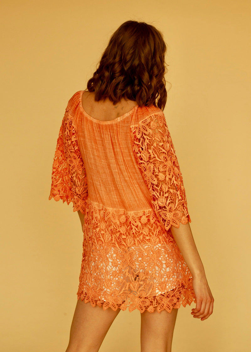 Anjana Embroidery Top in Coral