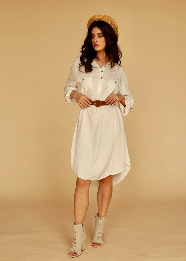 Selma Shirt Dress in White