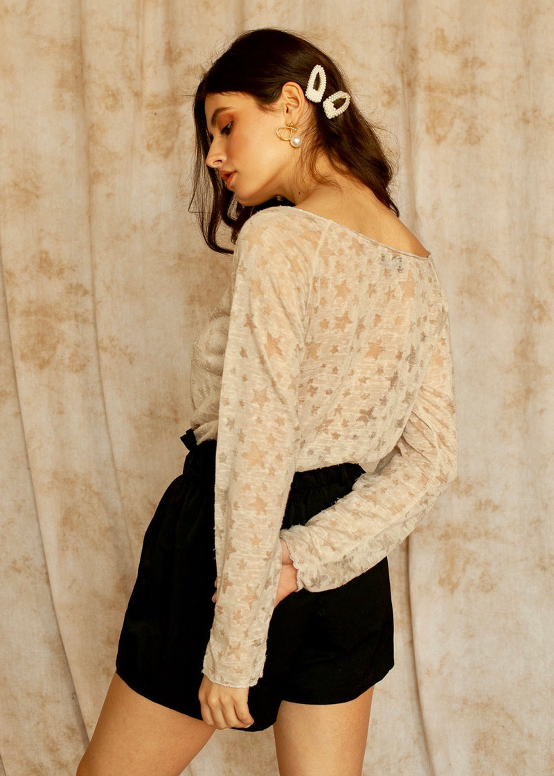 Stardust embroidered long sleeve top