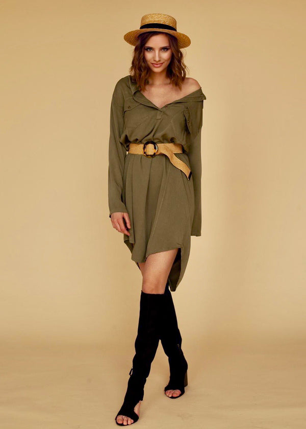 Selma Shirt Dress in Olive