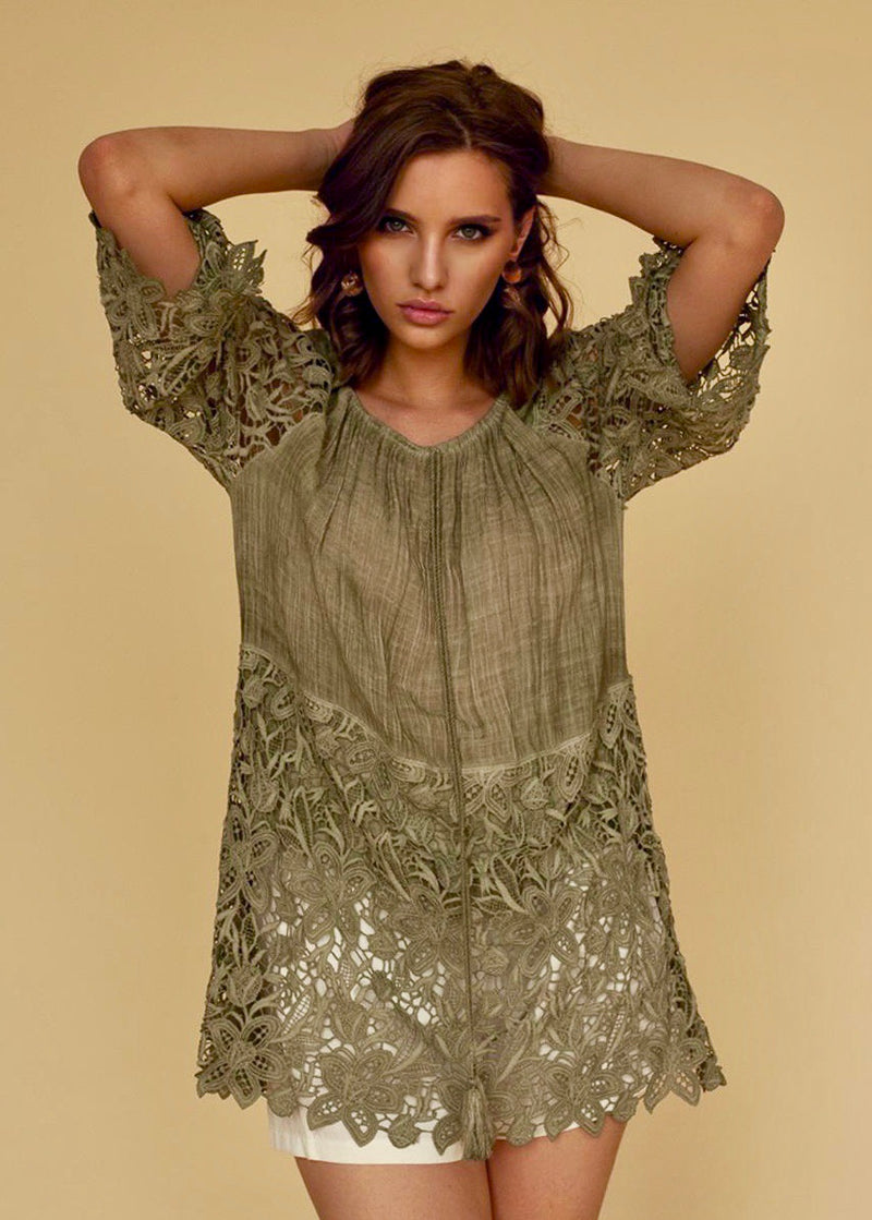Anjana Embroidery Top in Olive