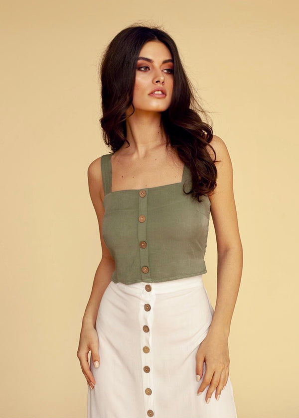 Berta Crop-Top in Olive