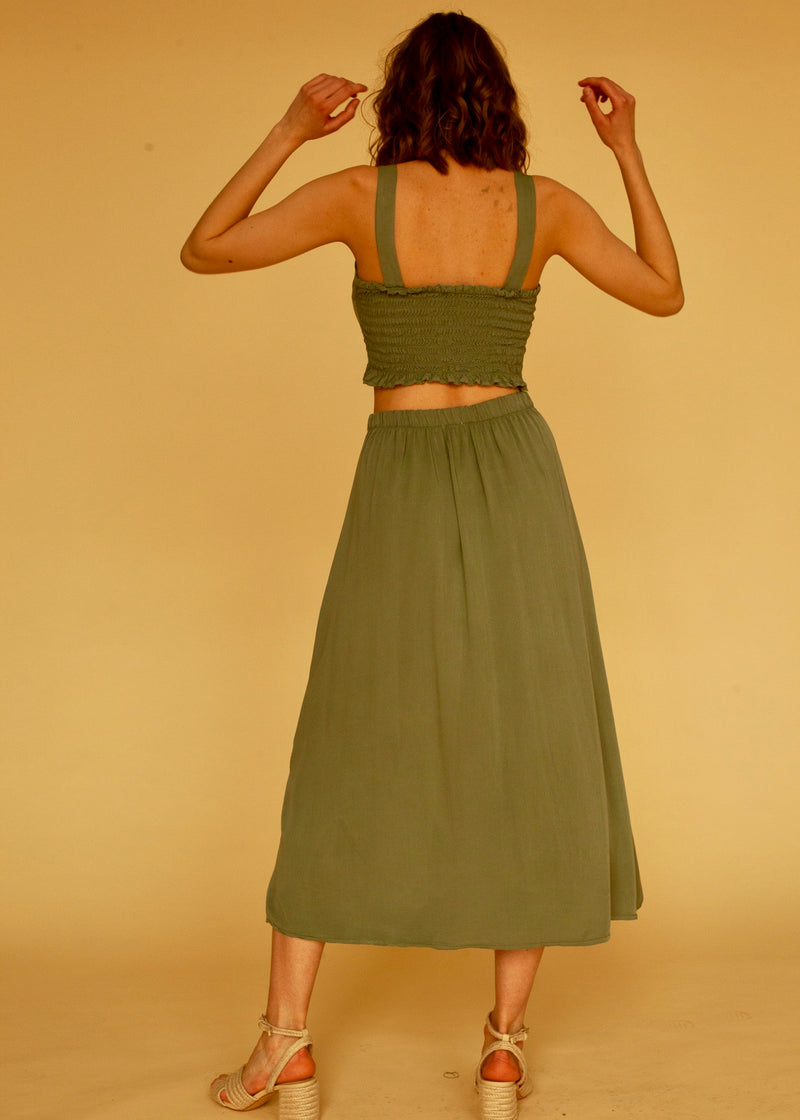 Berta Skirt in Green Khaki