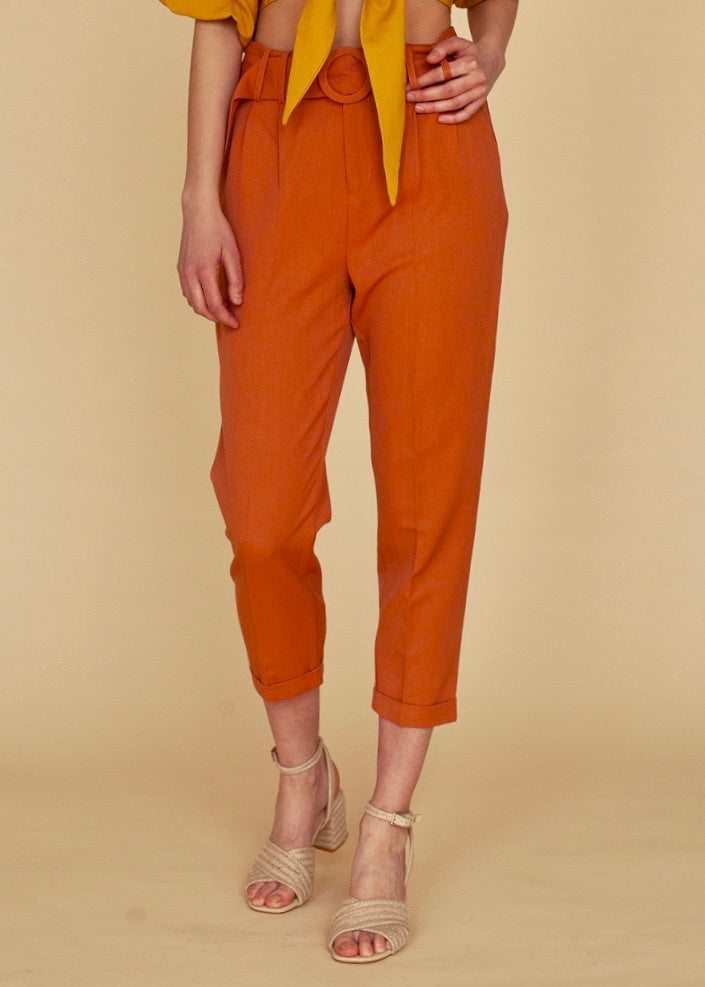 Terra-cotta High-Waisted Trouser