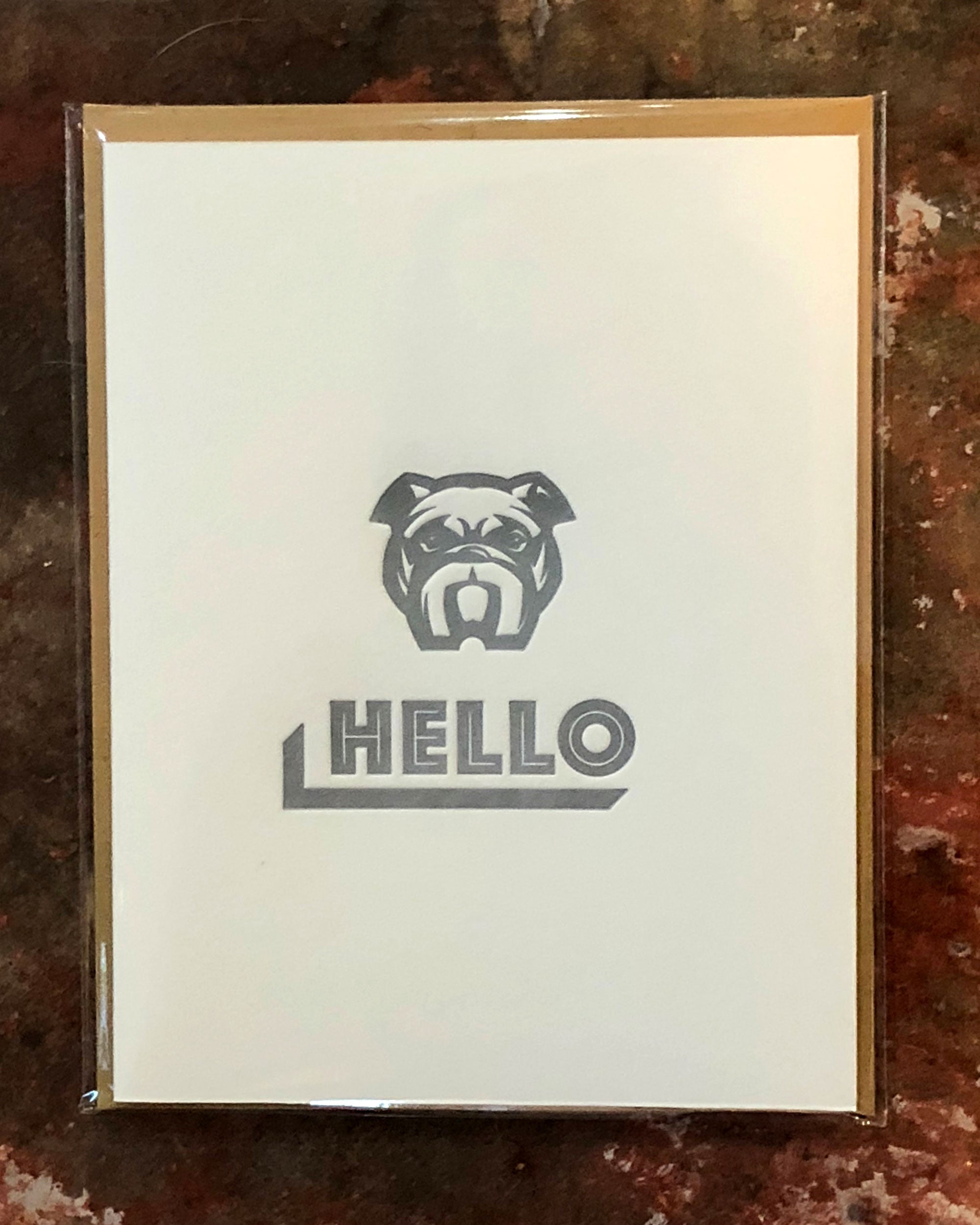 Bulldog Hello. Greeting Card