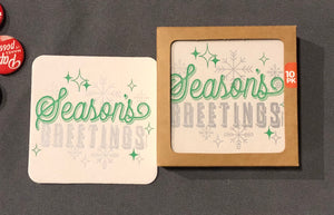 Season's Greetings Holiday Coasters