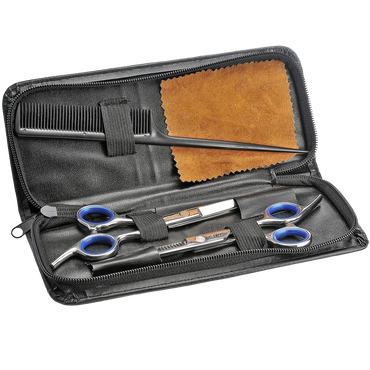 Schone Professional Hair Cutting Scissors Shears Barber Thinning Set Kit with a Black Leather Case