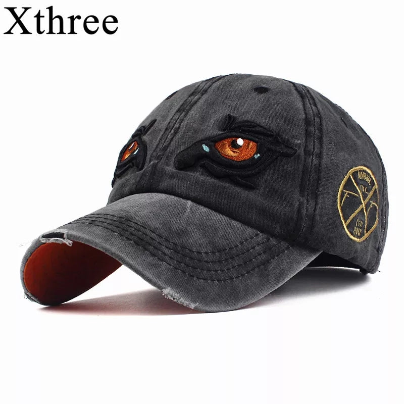 44667cac11b 100% Washed Cotton Caps Men Snapback Dad Hat for Women cap Embroidery Eye  Casquette Gorras