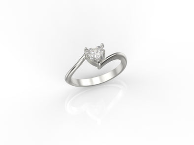 Mila Heart Ring (White Stone)