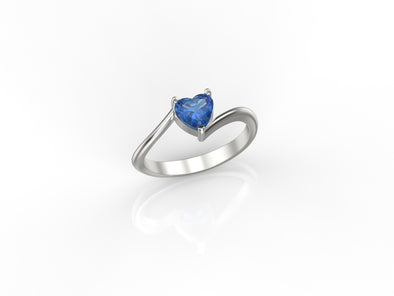 Mila Heart Ring (Blue Stone)