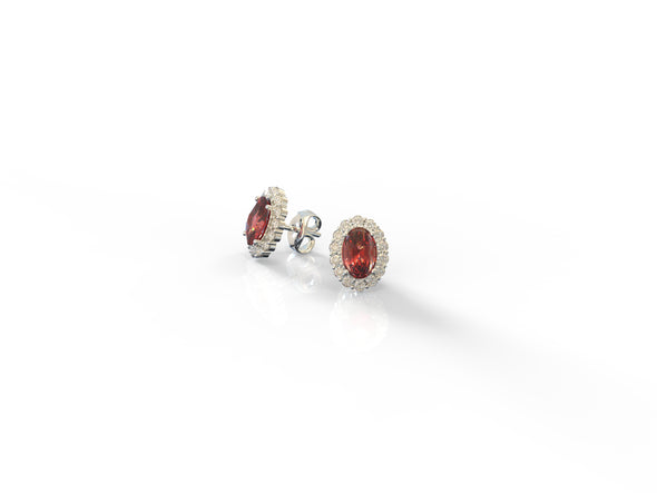 Oval Garnet Lenora Cluster Earrings