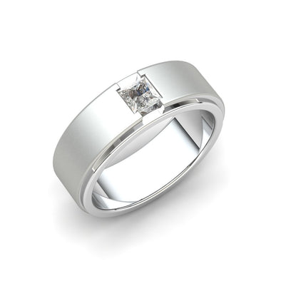 The Connor Square Zircon Solitaire Matt Band