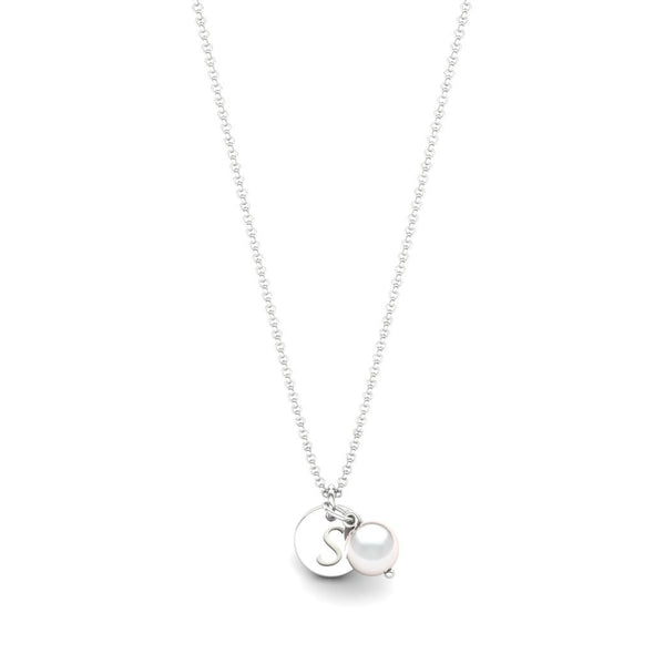 The Initial Coin Necklace with Pearl Pendant