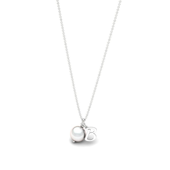 The Initial Necklace with Pearl Pendant