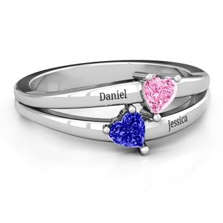 Jessica Engravable Hearts Ring