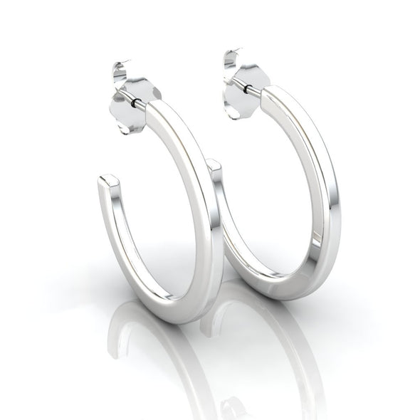 The Jessica Plain Hoops Silver