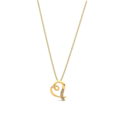 The Joanne Zircon Hanging Heart Necklace Gold Plated
