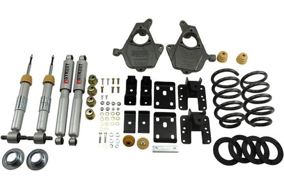 Belltech LOWERING KIT 14 Chev/GM 1500 Ext/Crw Cab 2WD 3in or 4in Ft/5in or 6in Rr w/ Shocks
