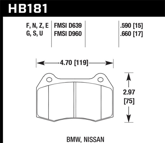 Hawk 02-04 Acura RSX / 94-97 BMW 840CI/850CI / 92-02 Nissan Skyline Blue 9012 Front Race Brake Pads
