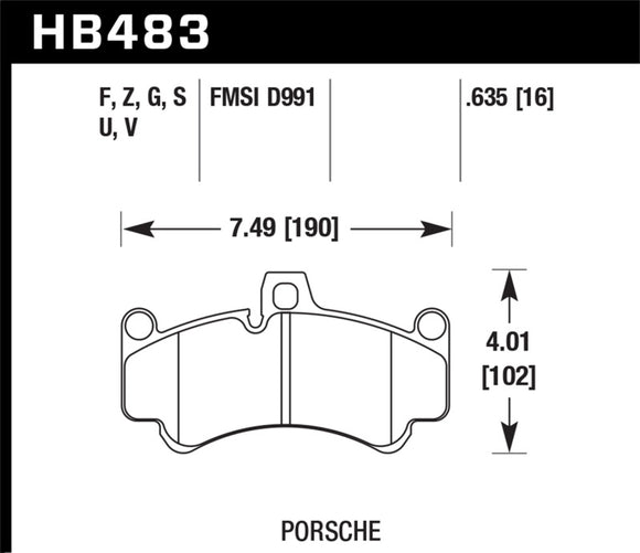 Hawk 2013 Porsche 911 Turbo S HPS 5.0 Front Brake Pads
