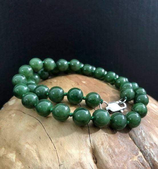 10mm Nephrite Jade Knotted Bead Necklace Women Canadian Jade