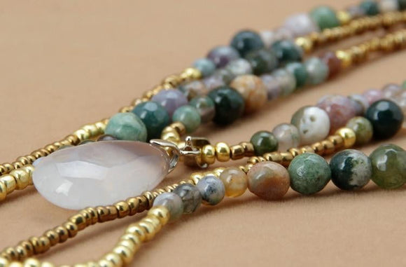 3 Layered Boho Gemstone Teardrop Pendant Necklace Jewelry