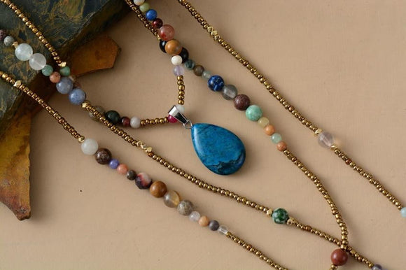 3 Layered Boho Semi-Precious Teardrop Pendant Necklace Jewelry