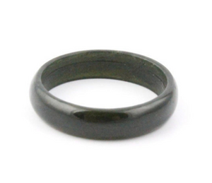 Black Australian Jade Narrow Band Ring Sizes 5 - 12