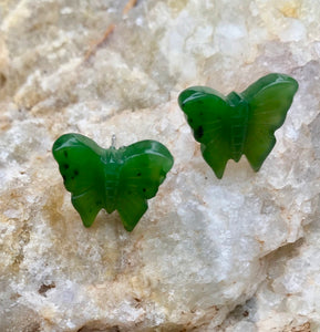 Nephrite Jade Butterfly Stud Earrings Women