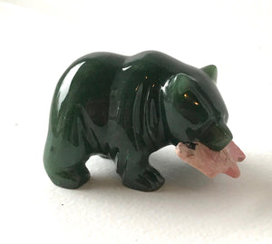Nephrite Jade Bear with Rhodonite Fish Canadian Jade