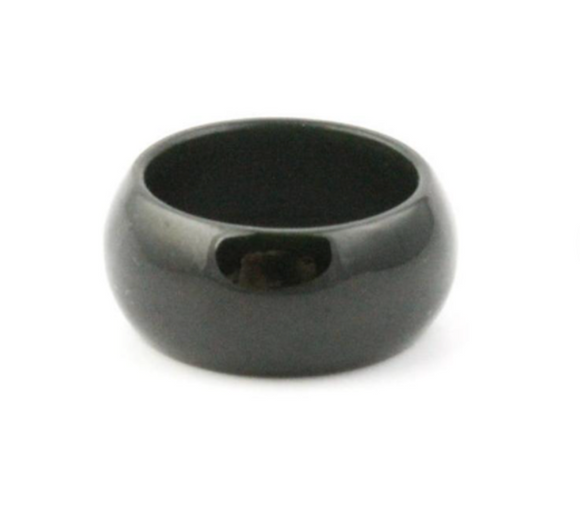 Black Australian Jade 10mm Band Ring Sizes 5 - 12