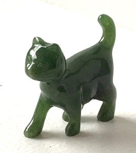 Nephrite Jade Carved Walking Kitty Cat Statue Figurine