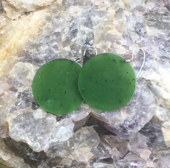 Nephrite Jade Round Solid Disc Earrings Women