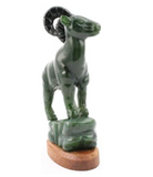 Nephrite Green & Black Jade Hand Carved Bighorn Mountain Goat Figurine Statue