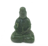 Canadian Nephrite Jade Hand-Carved Sitting Guanyin Figurine Statue ~ Goddess of Mercy