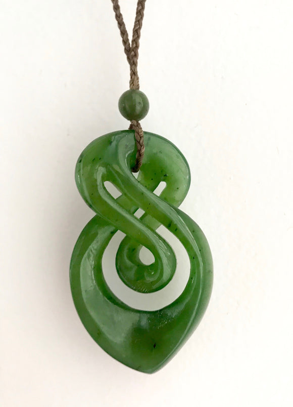 Nephrite Jade Double Infinity Twist Pendant with Adjustable Necklace