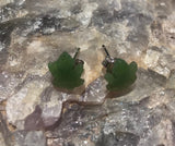 Nephrite Jade Maple Leaf Stud Earrings Women