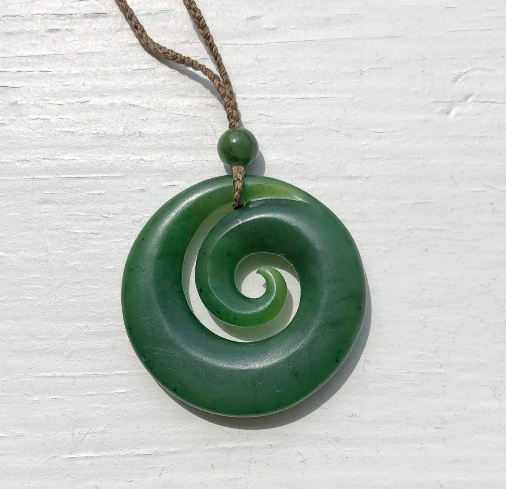 Nephrite Jade Koru Pendant with Adjustable Necklace