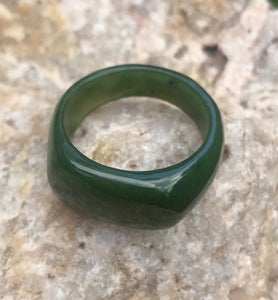 Nephrite Jade Saddle Top Band Ring